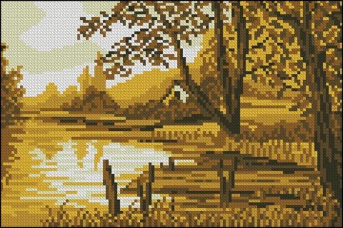 Осень, домик у озера