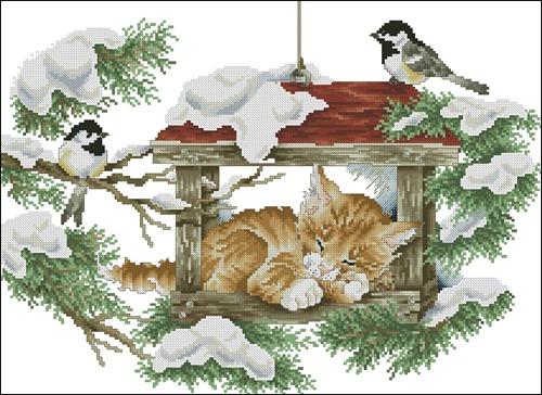 Кот и птички