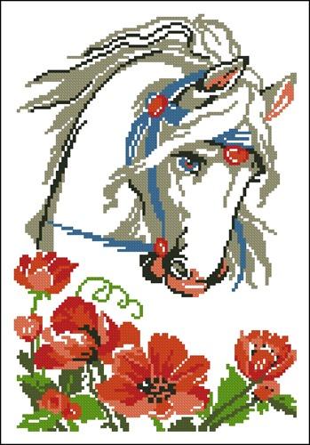 Лошадь с маками