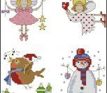 Angel, Angel with Heart, Robin, Snowman