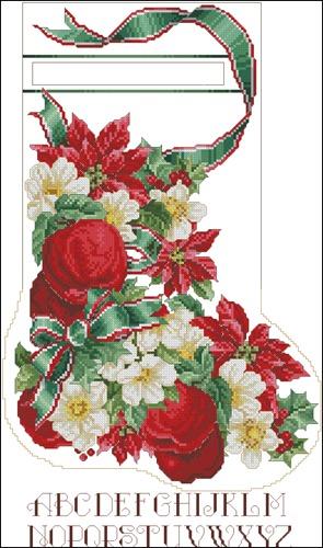 Apple & Roses Stocking - Vermillion